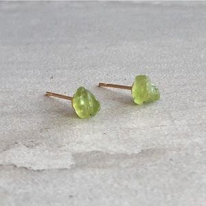 Raw Peridot Gemstone Stud Earrings